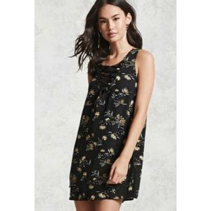Forever 21 Lace-up Floral Mini Dress